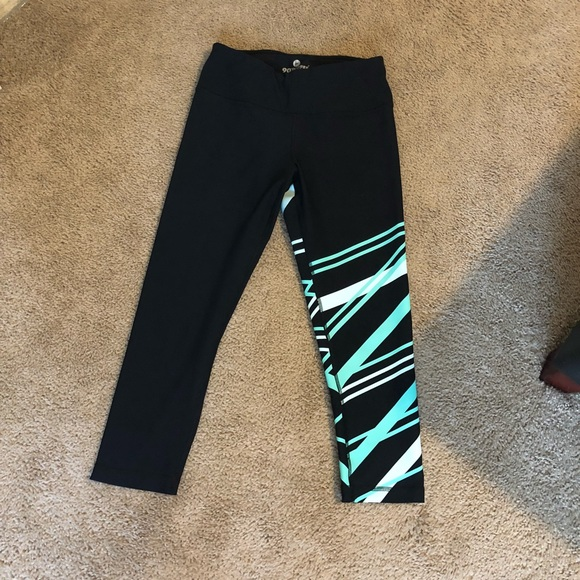90 Degree By Reflex Pants - Black and teal patterned leggings